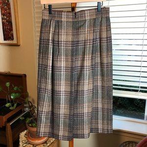 VTG Bogner Plaid Wool Midi Skirt
